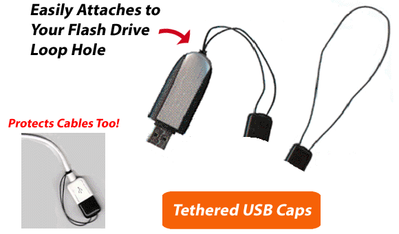 Tethered USB Caps for Flash Drives